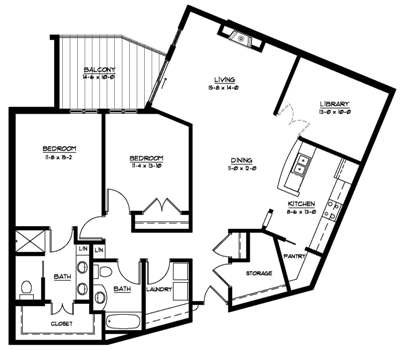 Plan E - Library - Two Bedroom Floorplan