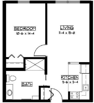 Mikkelson: accessible - One Bedroom Floorplan