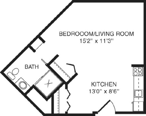 Honeysuckle - Studio Floorplan