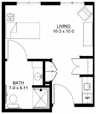 Mississippi - Studio Floorplan