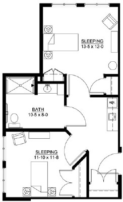 Redwood - Shared Suite Floorplan