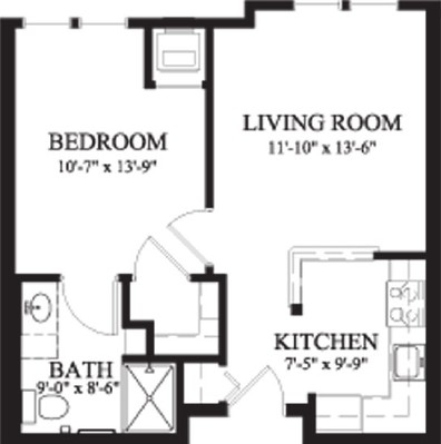 Balsam Fir - One Bedroom Floorplan