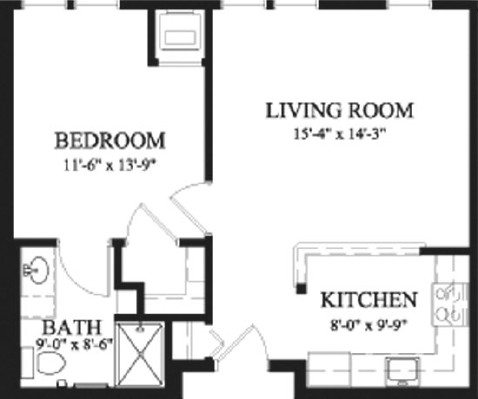 Cedar - One Bedroom Floorplan