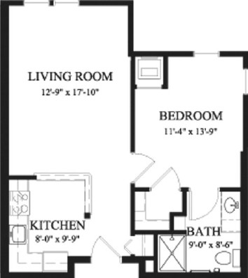 Hickory - One Bedroom Floorplan