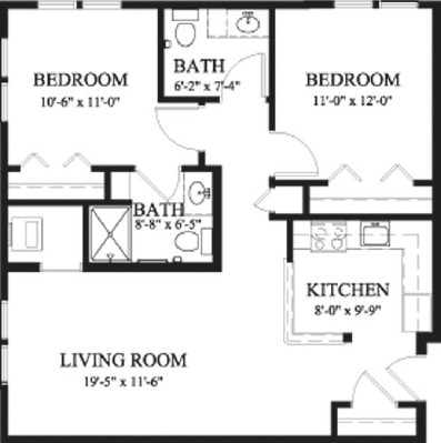 Magnolia - Two Bedroom Floorplan