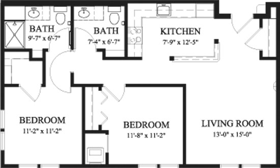 Walnut - Two Bedroom Floorplan