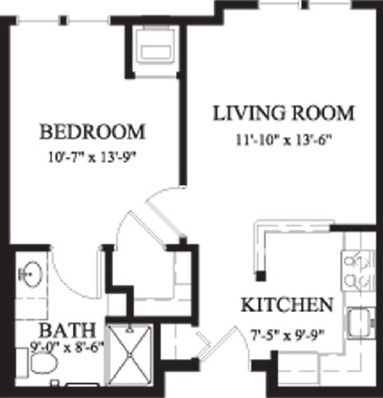 Arbor Ash - One Bedroom Floorplan