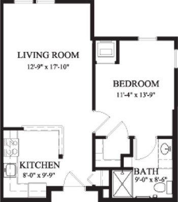Arbor Dogwood - One Bedroom Floorplan