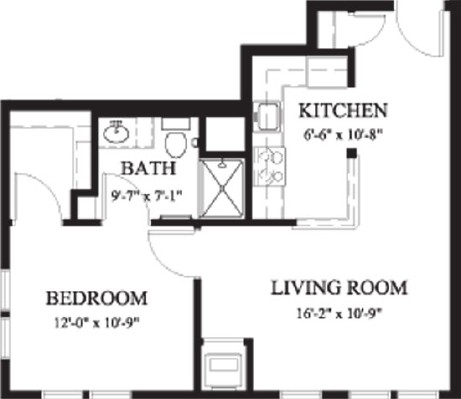 Arbor Poplar - One Bedroom Floorplan