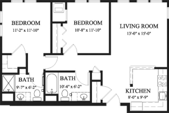 Arbor Spruce - Two Bedroom Floorplan