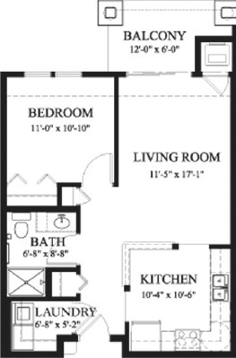 Alder - One Bedroom Floorplan