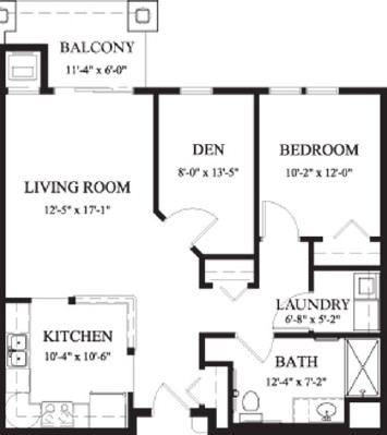 Elm - One Bedroom Floorplan