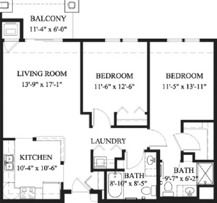 Linden - Two Bedroom Floorplan