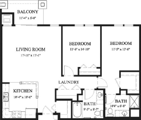 Maple - Two Bedroom Floorplan