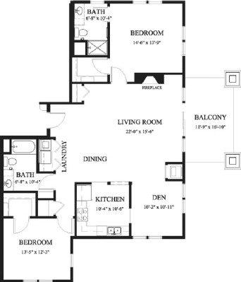 Oak - Two Bedroom Floorplan