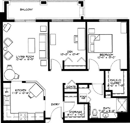 Crocus - One Bedroom Floorplan