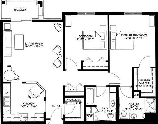 Dahlia - Two Bedroom Floorplan