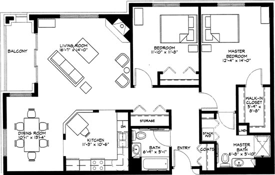 Evening Primrose - Two Bedroom Floorplan