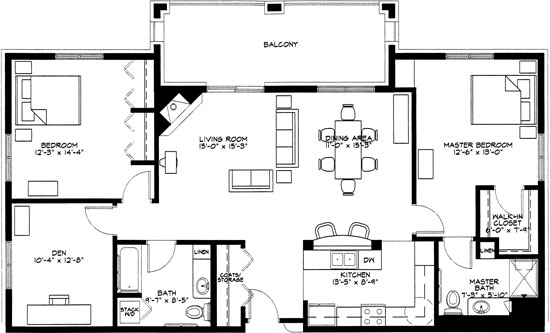 Foxglove - Two Bedroom Floorplan