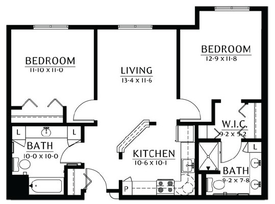 St. Croix - Two Bedroom Floorplan