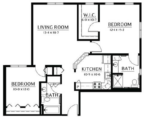 Zumbro - Two Bedroom Floorplan