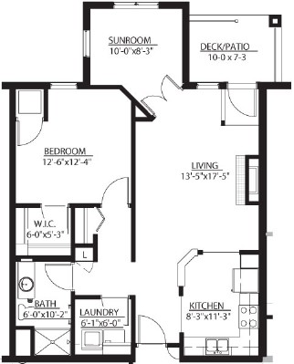 Evergreen (w/ Sunroom) - One Bedroom Floorplan