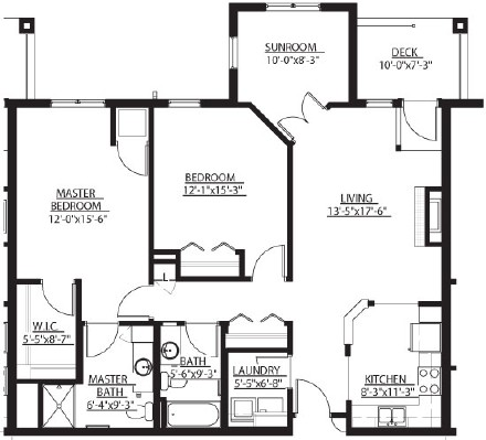 Minnewashta (w/ Sunroom) - Two Bedroom Floorplan