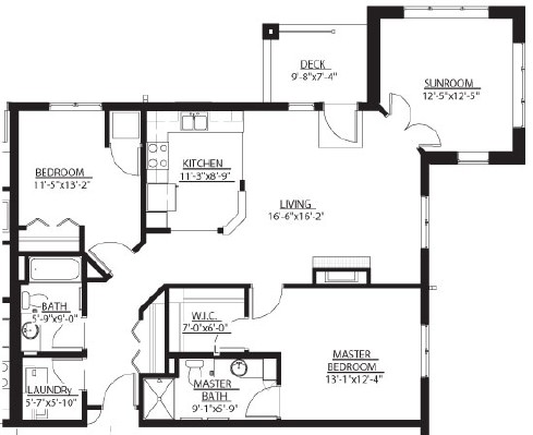 Moose (w/ Sunroom) - Two Bedroom Floorplan