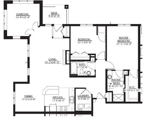 Pleasant (w/ Sunroom) - Two Bedroom Floorplan