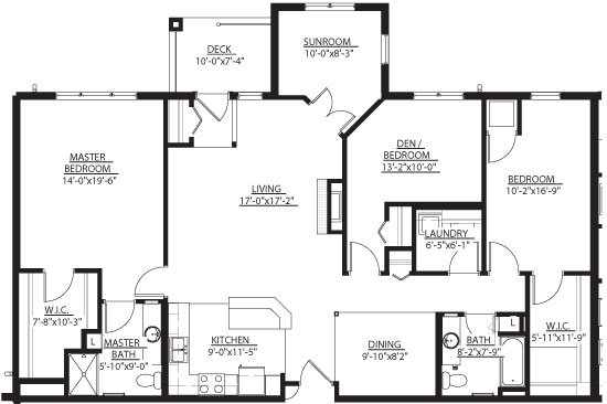 Swan (w/ Den, Sunroom) - Two Bedroom Floorplan