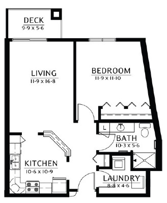Calhoun - One Bedroom Floorplan