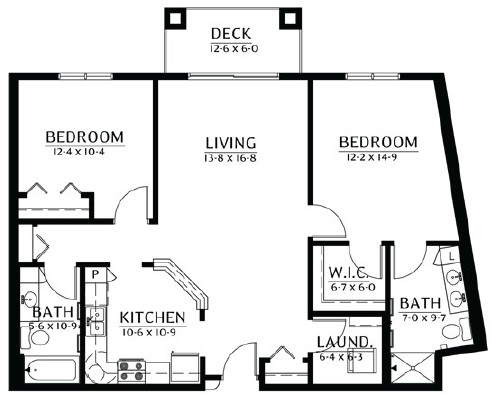 Lake of the Woods - Two Bedroom Floorplan