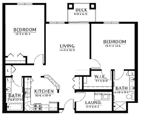 Nokomis - Two Bedroom Floorplan
