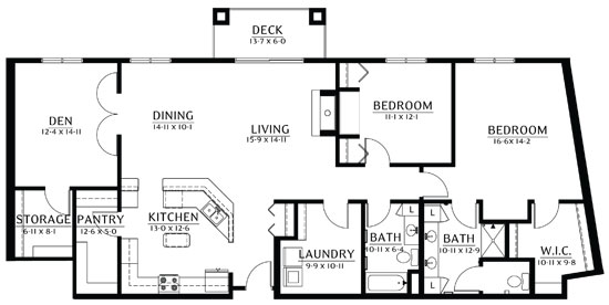 White Bear - Two Bedroom Floorplan