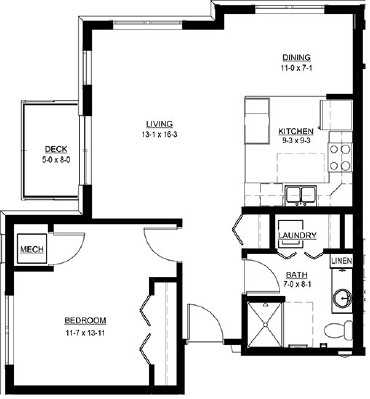 One Bedroom with Dining - One Bedroom Floorplan