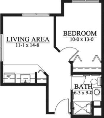 Fletcher - One Bedroom Floorplan