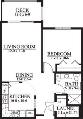 Ainsley (income guidelines apply) - One Bedroom Floorplan