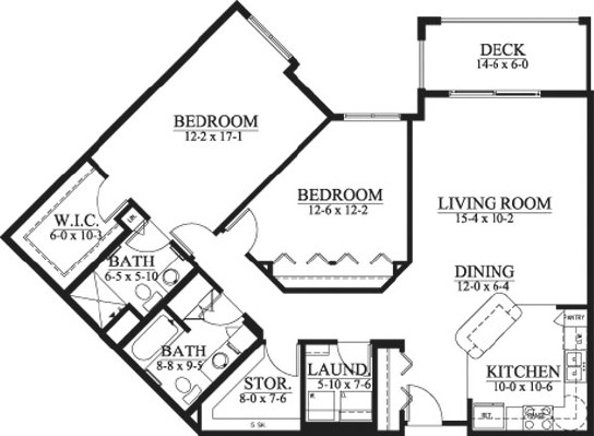 Lillias - Two Bedroom Floorplan