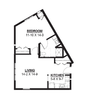 Cane - One Bedroom Floorplan