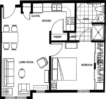 Allen - One Bedroom Floorplan