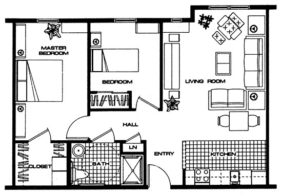 The Cistern - Two Bedroom Floorplan