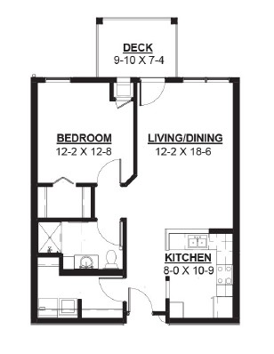 Cooker - One Bedroom Floorplan