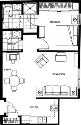 Douglas - One Bedroom Floorplan
