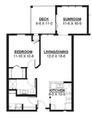Flywheel - One Bedroom + Sunroom Floorplan