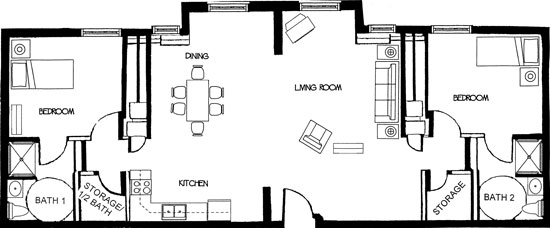 Michael - Two Bedroom Floorplan