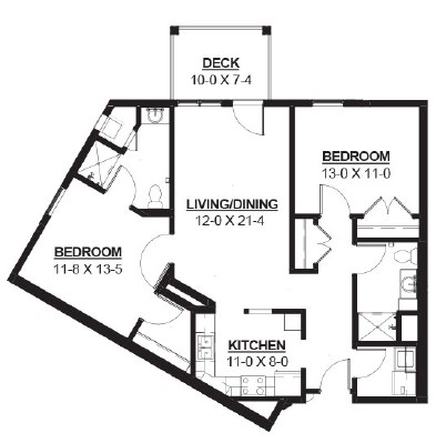 Pully - Two Bedroom Floorplan