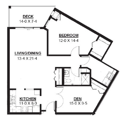 Roller - One Bedroom + Den Floorplan