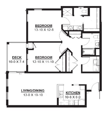 Water Wheel - Two Bedroom Floorplan
