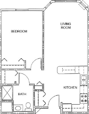 Empress Showboat - One Bedroom Floorplan