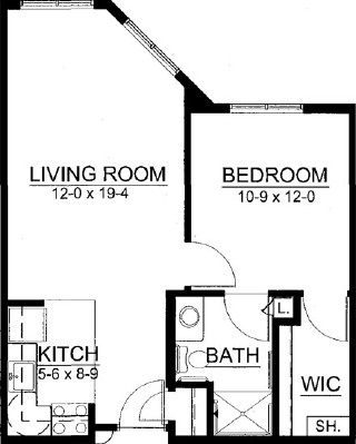 Rye - One Bedroom Floorplan